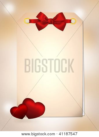 Gift Invitation With Hearts And Red Ribbon Bow On Colorful Background. Illustration