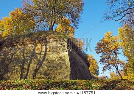 stony fortification wall about castle in Wisnicz