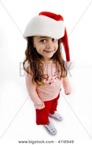 Little Girl luciendo Navidad sombrero