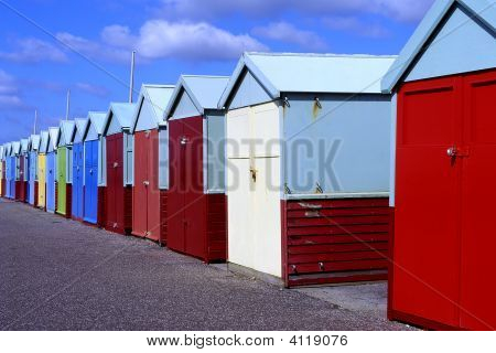 Beach Huts At Brighton, East Sussex, England