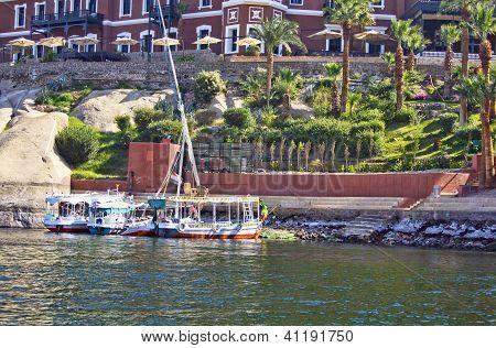 Nile Pleasure Boats Beneath The Hotel And Gardens