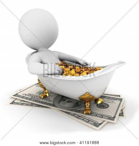 3D pessoas brancas leva um banho de dinheiro