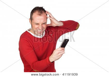 Young boy getting bad news by phone isolated on white background