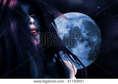Woman And Blue Moon