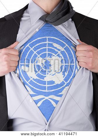 Business Man With Un Flag T-shirt