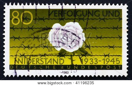 Postage Stamp Germany 1983 White Flower Behind Barbed Wire
