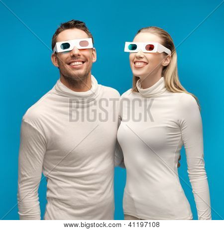 picture of man and woman with 3d glasses