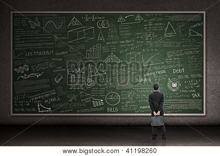 Businessman Looking At Hand Drawn Chalkboard