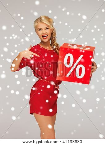 picture of lovely woman in red dress with percent sign