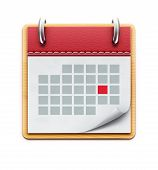 stock photo of leather-bound  - Vector illustration of detailed beautiful calendar icon isolated on white background - JPG