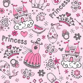 image of pageant  - Seamless Pattern Fairy Tale Princess Tiara Crown Notebook Sketchy Doodle Design Elements Vector Design - JPG