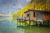 image of wooden shack  - Hut on Braies lake and Dolomiti Trentino Alto Adige Italy - JPG