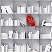 foto of cynicism  - anatomical  heart on the bookshelves  - JPG