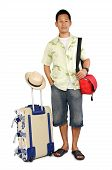 foto of sling bag  - Picture of man with all the stuff ready for going holiday on white background - JPG