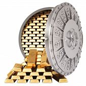 stock photo of bank vault  - open a bank vault with a gold bullions - JPG