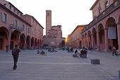Piazza Giuseppe Verdi In Bologna At Warm Autumn Evening