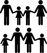 stock photo of holding hands  - People symbols of a mom dad boy and girl family holding hands in two versions - JPG
