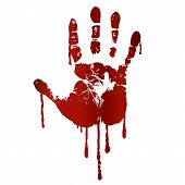 stock photo of terrorism  - Bloody hand print isolated on white background - JPG