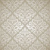 stock photo of damask  - Damask vintage seamless pattern on gray gradient background - JPG