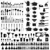 stock photo of saucepan  - Set of cutlery icons - JPG
