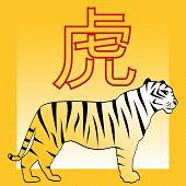 stock photo of tora  - Tiger and japanese and chinese horoscope hieroglyph Tora  - JPG