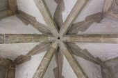 picture of mortar-joint  - Architectural details of a tower ceiling made of stone and brick and mortar in the historical Tower of London - JPG