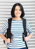 stock photo of bagpack  - bright picture of attractive woman with bagpack - JPG