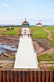 Two lighthouse located at Wood Islands, Prince Edward Island, Canada.  One on the wharf and a distan