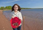 picture of clam digging  - Young woman with her shovel digging clams - JPG