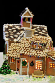 picture of gingerbread house  - Gingerbread house decorated with almond flakes on the roof - JPG