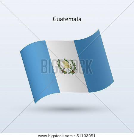 Guatemala flag waving form. Vector illustration.