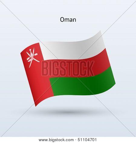 Oman flag waving form. Vector illustration.