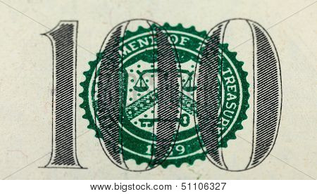 Number 100. Fragment Of  One Hundred Dollar Bill