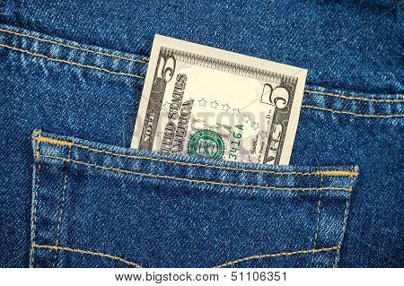 Five Dollar Bill In The Back Jeans Pocket