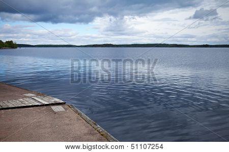 Calm Lake Harbor In Imatra Town, Finland