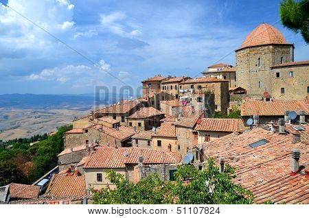 Spectacular view of the old town of Volterra in Tuscany, Italy