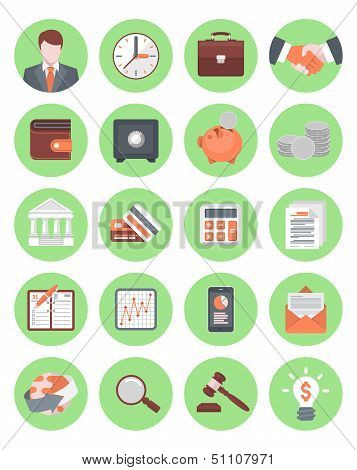 Financial and Business Icons Green Set