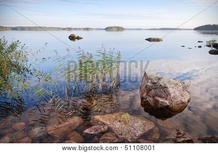 Coastal Landscape With Sedge And Stones, Saimaa Lake, Karelia, Finland