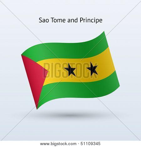 Sao Tome and Principe flag waving form.