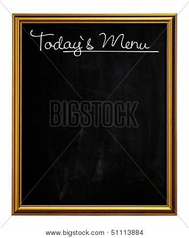 Golden Picture Frame Chalkboard Blackboard Used As Today`s Menu