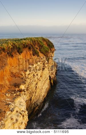 California Coast Cliff At Sunset