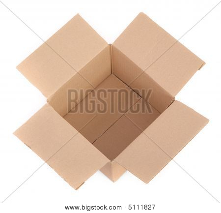 Cardboard Box On White - Top View