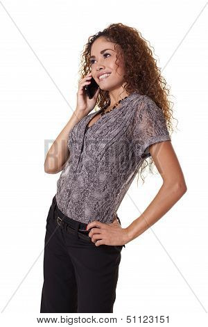 Female Business Professional  Talks On The Phone.