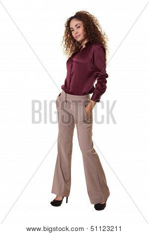 Ethnic Woman Standing Isolated White Background.
