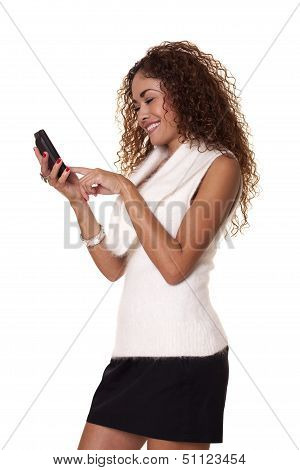Happyl Woman Smiles With Her Cell Phone.