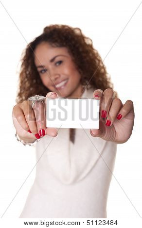 Beautiful Woman Holds A Blank Business Card.