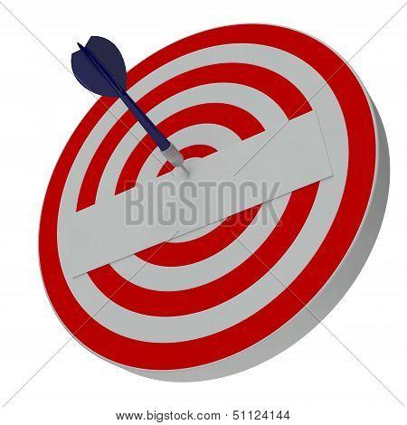 Dart hitting center target on dartboard