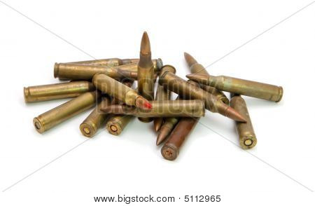 Pile Of  M16 Rifle Cartridges Isolated