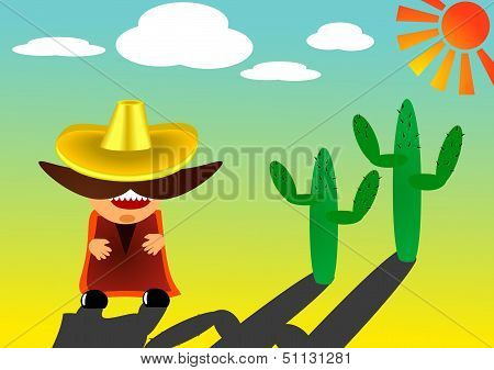 Mexican in sombrero with a big mustache - vector