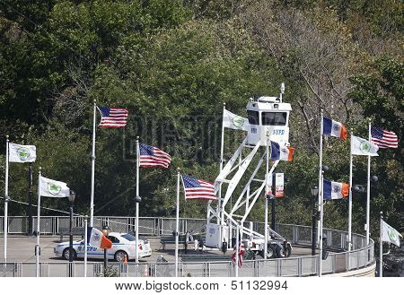 NYPD Sky Watch platform providing security at National Tennis Center during US Open 2013